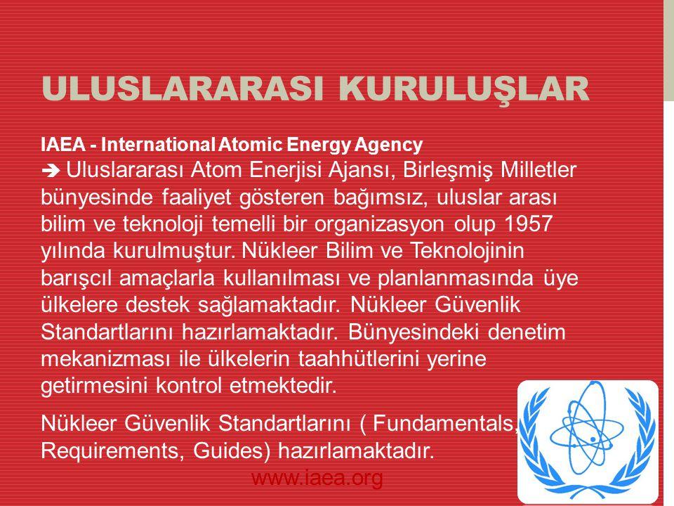 ULUSLARARASI KURULUŞLAR IAEA - International Atomic Energy Agency  Uluslararası Atom Enerjisi Ajansı, Birleşmiş Milletler bünyesinde faaliyet göstere