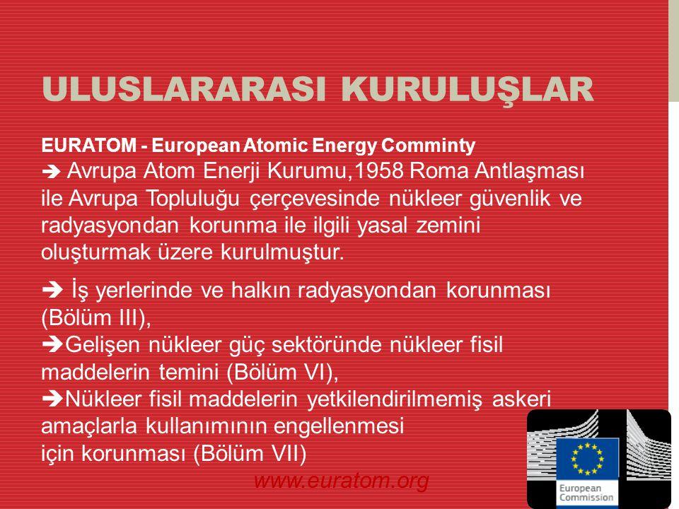 ULUSLARARASI KURULUŞLAR EURATOM - European Atomic Energy Comminty  Avrupa Atom Enerji Kurumu,1958 Roma Antlaşması ile Avrupa Topluluğu çerçevesinde n