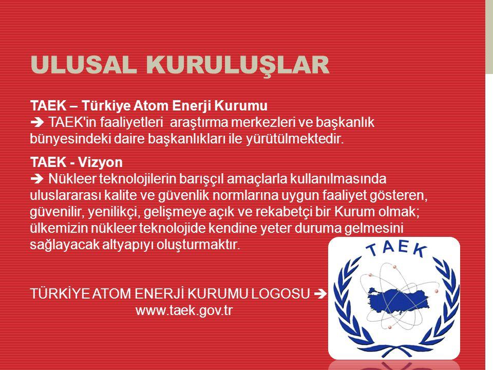 ULUSAL KURULUŞLAR TAEK – Türkiye Atom Enerji Kurumu  TAEK'in faaliyetleri araştırma merkezleri ve başkanlık bünyesindeki daire başkanlıkları ile yürü