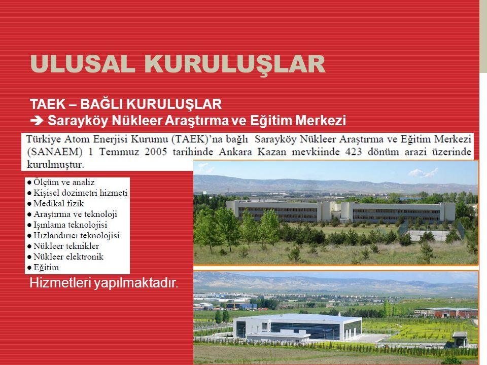 ULUSAL KURULUŞLAR TAEK – BAĞLI KURULUŞLAR  Sarayköy Nükleer Araştırma ve Eğitim Merkezi Hizmetleri yapılmaktadır.