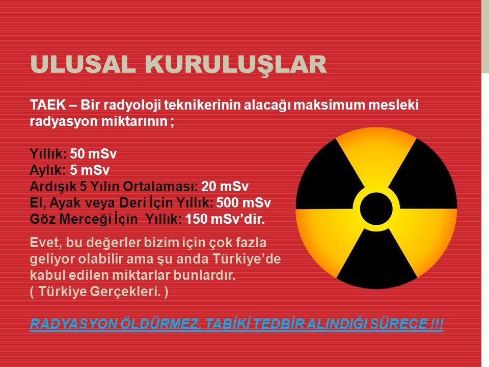 ULUSAL KURULUŞLAR TAEK – Bir radyoloji teknikerinin alacağı maksimum mesleki radyasyon miktarının ; Yıllık: 50 mSv Aylık: 5 mSv Ardışık 5 Yılın Ortala