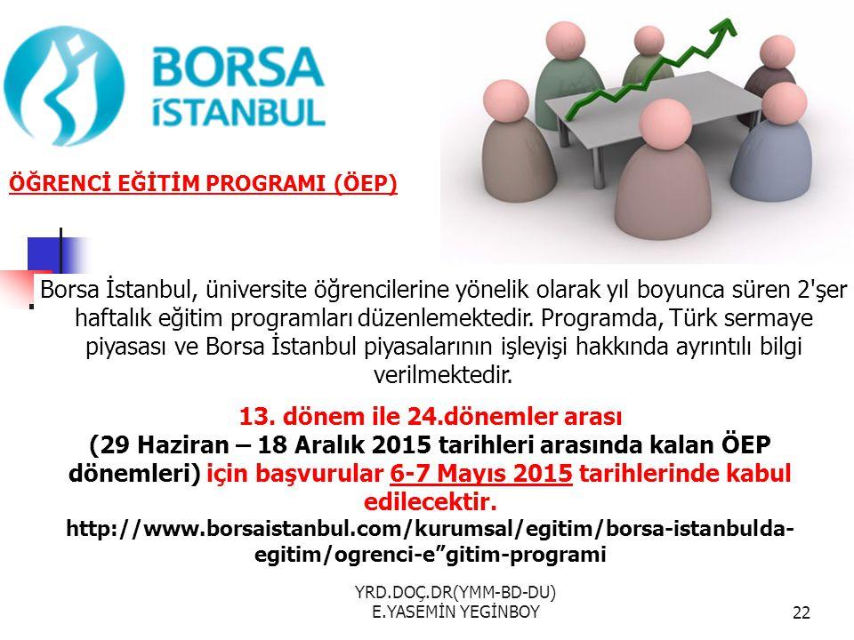 YRD.DOÇ.DR(YMM-BD-DU) E.YASEMİN YEGİNBOY22 ÖĞRENCİ EĞİTİM PROGRAMI (ÖEP) Borsa İstanbul, üniversite öğrencilerine yönelik olarak yıl boyunca süren 2'ş