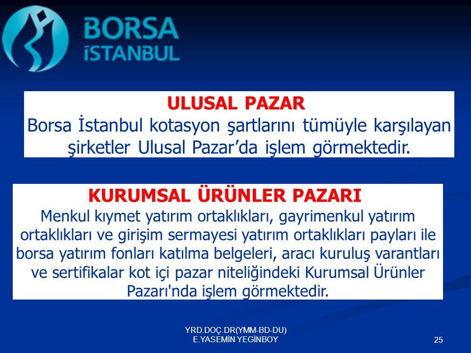 YRD.DOÇ.DR(YMM-BD-DU) E.YASEMİN YEGİNBOY 25 ULUSAL PAZAR Borsa İstanbul kotasyon şartlarını tümüyle karşılayan şirketler Ulusal Pazar'da işlem görmekt
