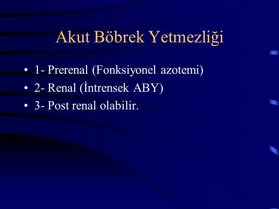 Akut Böbrek Yetmezliği 1- Prerenal (Fonksiyonel azotemi) 2- Renal (İntrensek ABY) 3- Post renal olabilir.