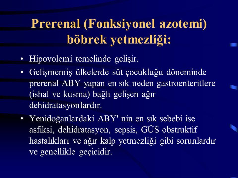 Prerenal (Fonksiyonel azotemi) böbrek yetmezliği: Hipovolemi temelinde gelişir. Gelişmemiş ülkelerde süt çocukluğu döneminde prerenal ABY yapan en sık