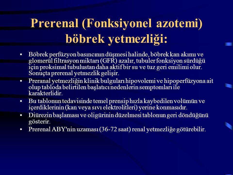 Prerenal (Fonksiyonel azotemi) böbrek yetmezliği: Böbrek perfüzyon basıncının düşmesi halinde, böbrek kan akımı ve glomerül filtrasyon miktarı (GFR) a