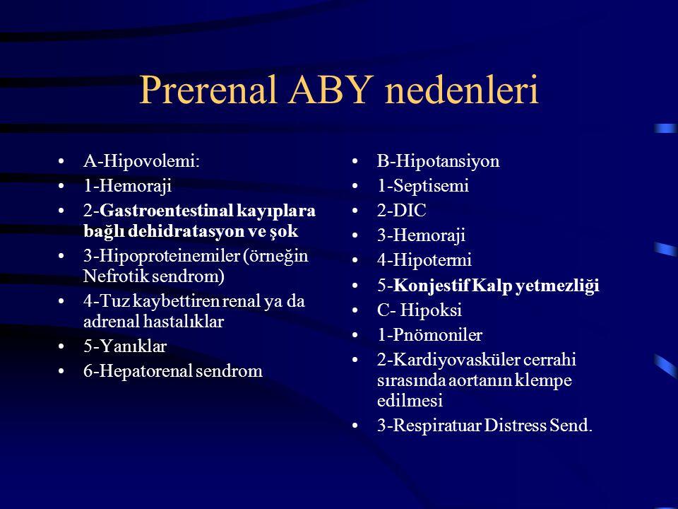 Prerenal ABY nedenleri A-Hipovolemi: 1-Hemoraji 2-Gastroentestinal kayıplara bağlı dehidratasyon ve şok 3-Hipoproteinemiler (örneğin Nefrotik sendrom)