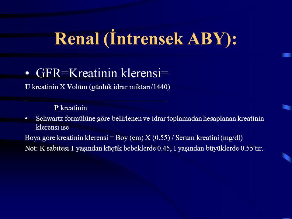 Renal (İntrensek ABY): GFR=Kreatinin klerensi= U kreatinin X Volüm (günlük idrar miktarı/1440) _______________________________________ P kreatinin Sch