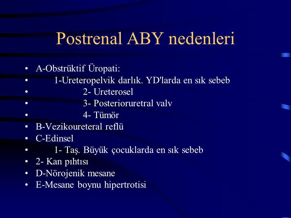 Postrenal ABY nedenleri A-Obstrüktif Üropati: 1-Ureteropelvik darlık. YD'larda en sık sebeb 2- Ureterosel 3- Posterioruretral valv 4- Tümör B-Vezikour