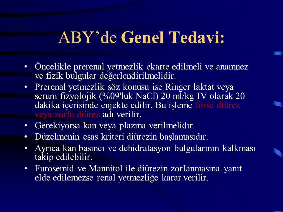 ABY'de Genel Tedavi: Öncelikle prerenal yetmezlik ekarte edilmeli ve anamnez ve fizik bulgular değerlendirilmelidir. Prerenal yetmezlik söz konusu ise
