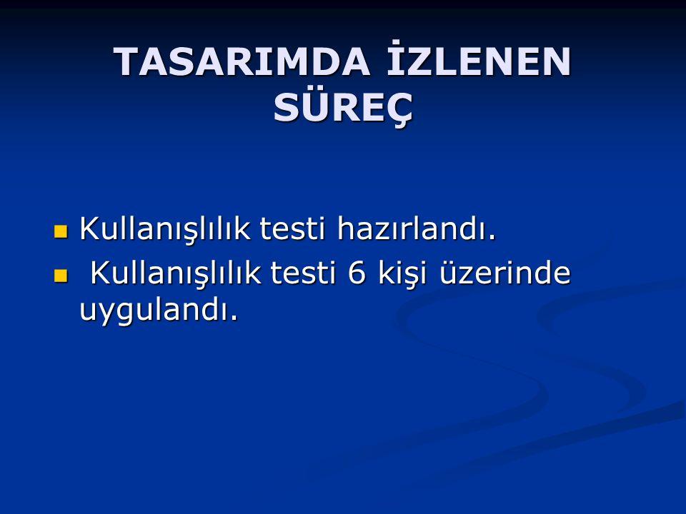 TASARIMDA İZLENEN SÜREÇ Kullanışlılık testi hazırlandı.