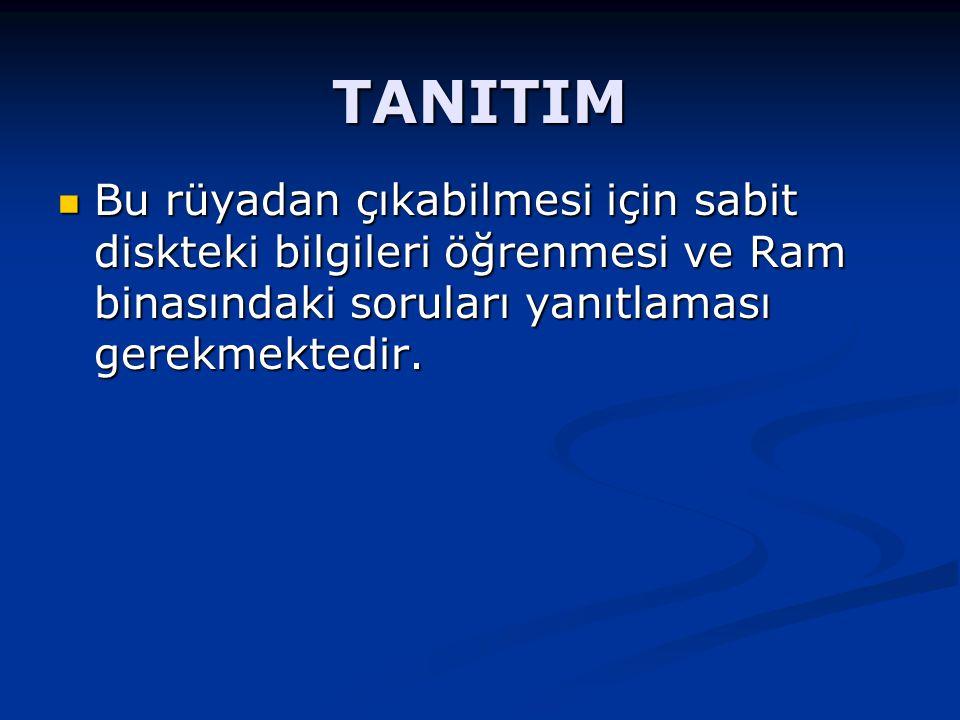 TANITIM Bu rüyadan çıkabilmesi için sabit diskteki bilgileri öğrenmesi ve Ram binasındaki soruları yanıtlaması gerekmektedir.
