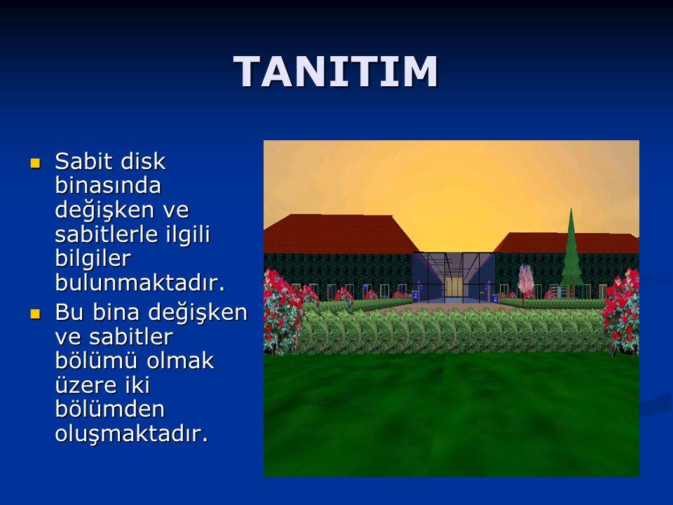 TANITIM Değişkenler ve sabitler bölümünde 4 oda bulunmaktadır.