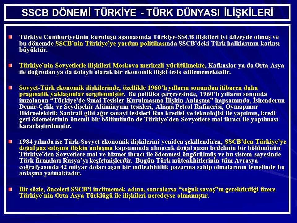 SSCB DÖNEMİ TÜRKİYE - TÜRK DÜNYASI İLİŞKİLERİ Türkiye Cumhuriyetinin kuruluşu aşamasında Türkiye-SSCB ilişkileri iyi düzeyde olmuş ve bu dönemde SSCB'nin Türkiye'ye yardım politikasında SSCB'deki Türk halklarının katkısı büyüktür.