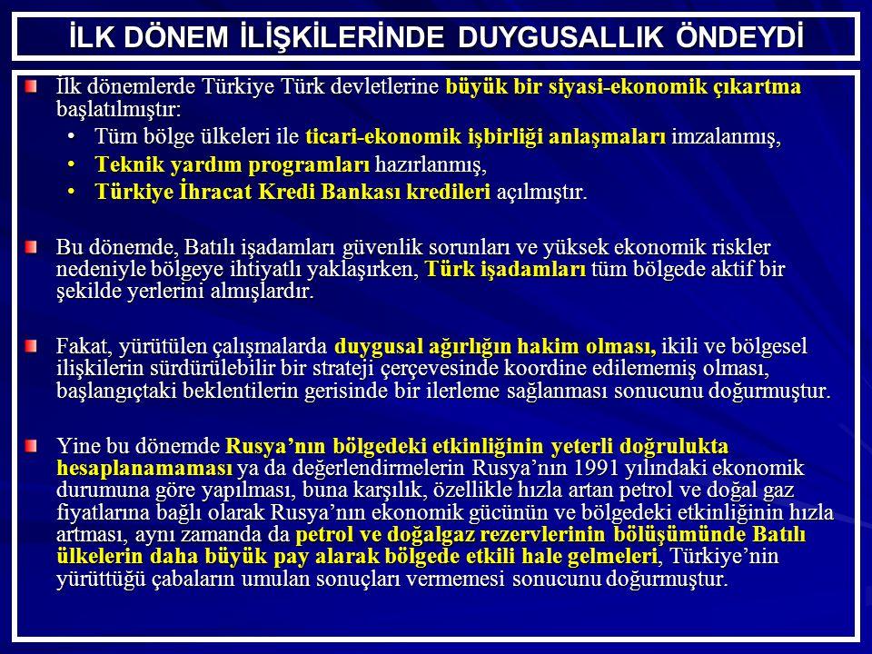İLK DÖNEM İLİŞKİLERİNDE DUYGUSALLIK ÖNDEYDİ İlk dönemlerde Türkiye Türk devletlerine büyük bir siyasi-ekonomik çıkartma başlatılmıştır: Tüm bölge ülkeleri ile ticari-ekonomik işbirliği anlaşmaları imzalanmış,Tüm bölge ülkeleri ile ticari-ekonomik işbirliği anlaşmaları imzalanmış, Teknik yardım programları hazırlanmış,Teknik yardım programları hazırlanmış, Türkiye İhracat Kredi Bankası kredileri açılmıştır.Türkiye İhracat Kredi Bankası kredileri açılmıştır.