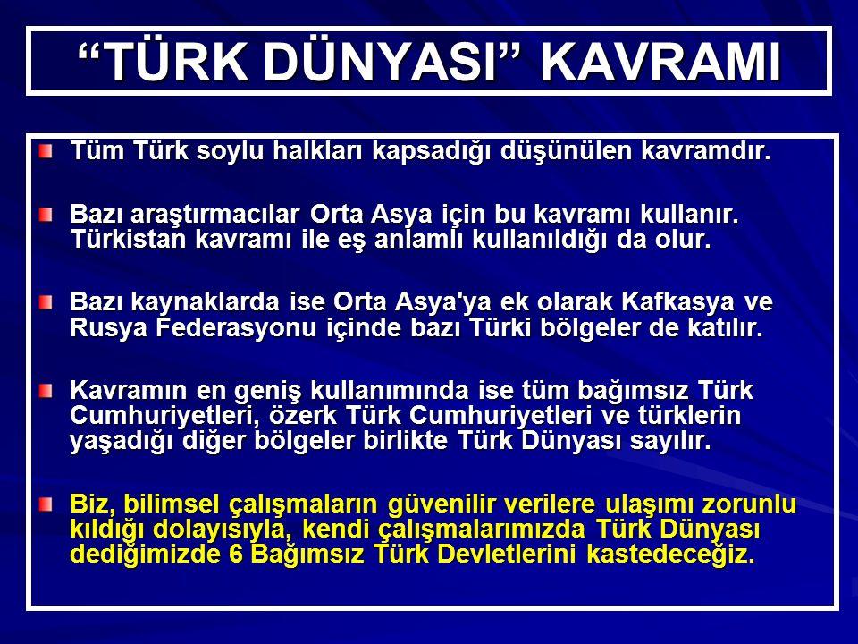 TÜRK DÜNYASI KAVRAMI Tüm Türk soylu halkları kapsadığı düşünülen kavramdır.