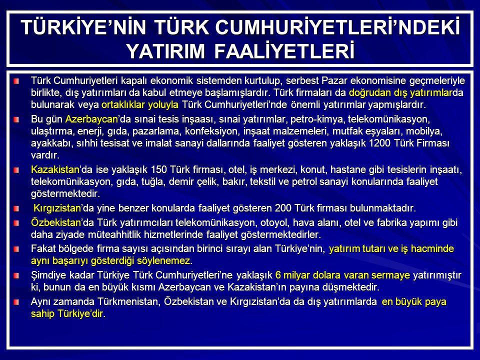 TÜRKİYE'NİN TÜRK CUMHURİYETLERİ'NDEKİ YATIRIM FAALİYETLERİ Türk Cumhuriyetleri kapalı ekonomik sistemden kurtulup, serbest Pazar ekonomisine geçmeleriyle birlikte, dış yatırımları da kabul etmeye başlamışlardır.