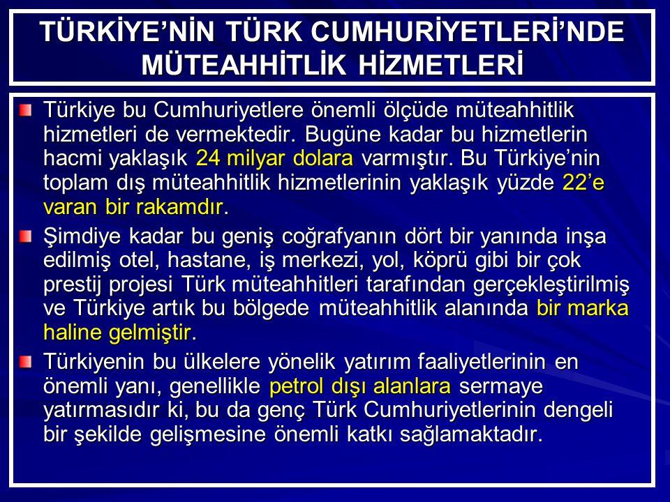 TÜRKİYE'NİN TÜRK CUMHURİYETLERİ'NDE MÜTEAHHİTLİK HİZMETLERİ Türkiye bu Cumhuriyetlere önemli ölçüde müteahhitlik hizmetleri de vermektedir.