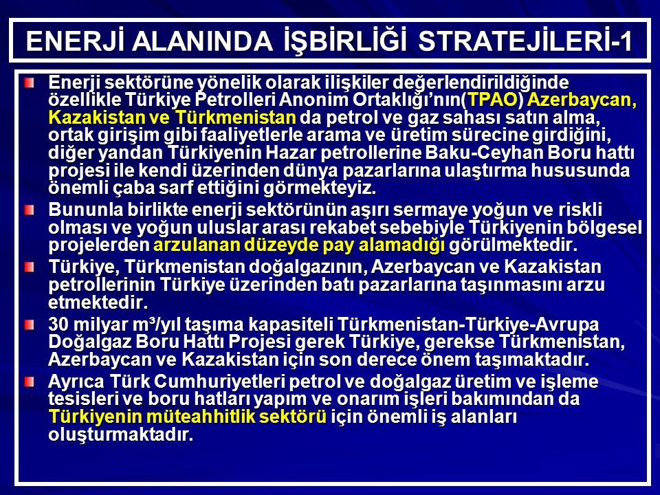 ENERJİ ALANINDA İŞBİRLİĞİ STRATEJİLERİ-1 Enerji sektörüne yönelik olarak ilişkiler değerlendirildiğinde özellikle Türkiye Petrolleri Anonim Ortaklığı'nın(TPAO) Azerbaycan, Kazakistan ve Türkmenistan da petrol ve gaz sahası satın alma, ortak girişim gibi faaliyetlerle arama ve üretim sürecine girdiğini, diğer yandan Türkiyenin Hazar petrollerine Baku-Ceyhan Boru hattı projesi ile kendi üzerinden dünya pazarlarına ulaştırma hususunda önemli çaba sarf ettiğini görmekteyiz.