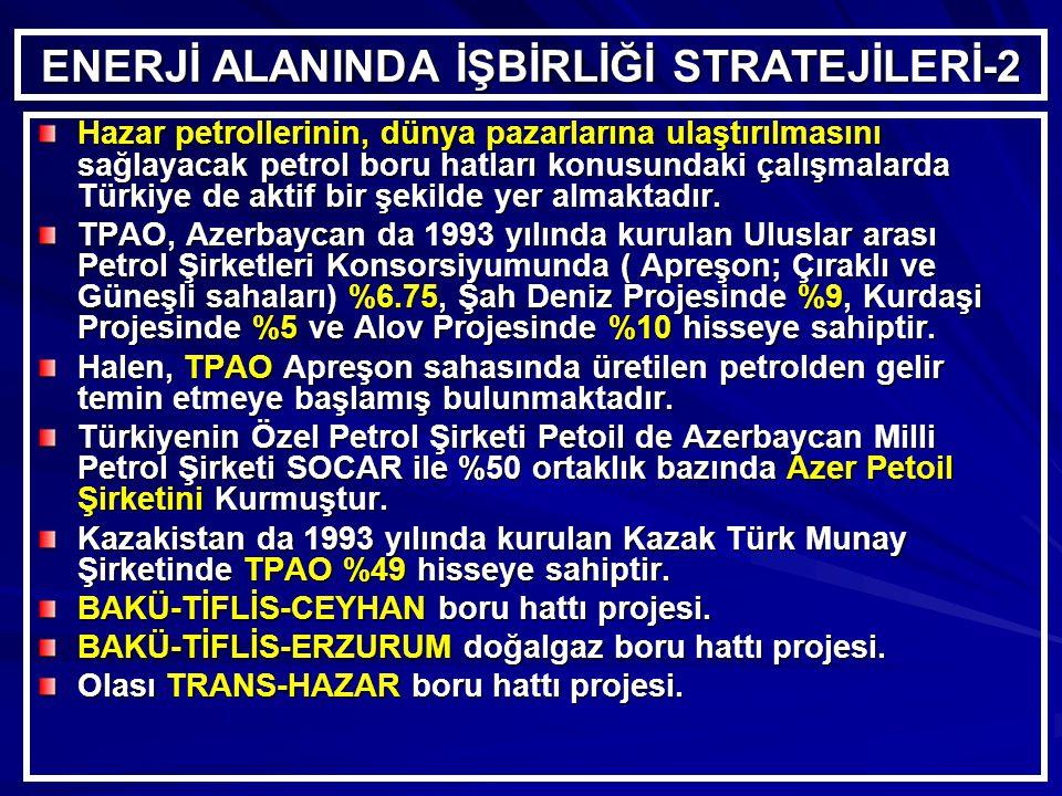 ENERJİ ALANINDA İŞBİRLİĞİ STRATEJİLERİ-2 Hazar petrollerinin, dünya pazarlarına ulaştırılmasını sağlayacak petrol boru hatları konusundaki çalışmalarda Türkiye de aktif bir şekilde yer almaktadır.