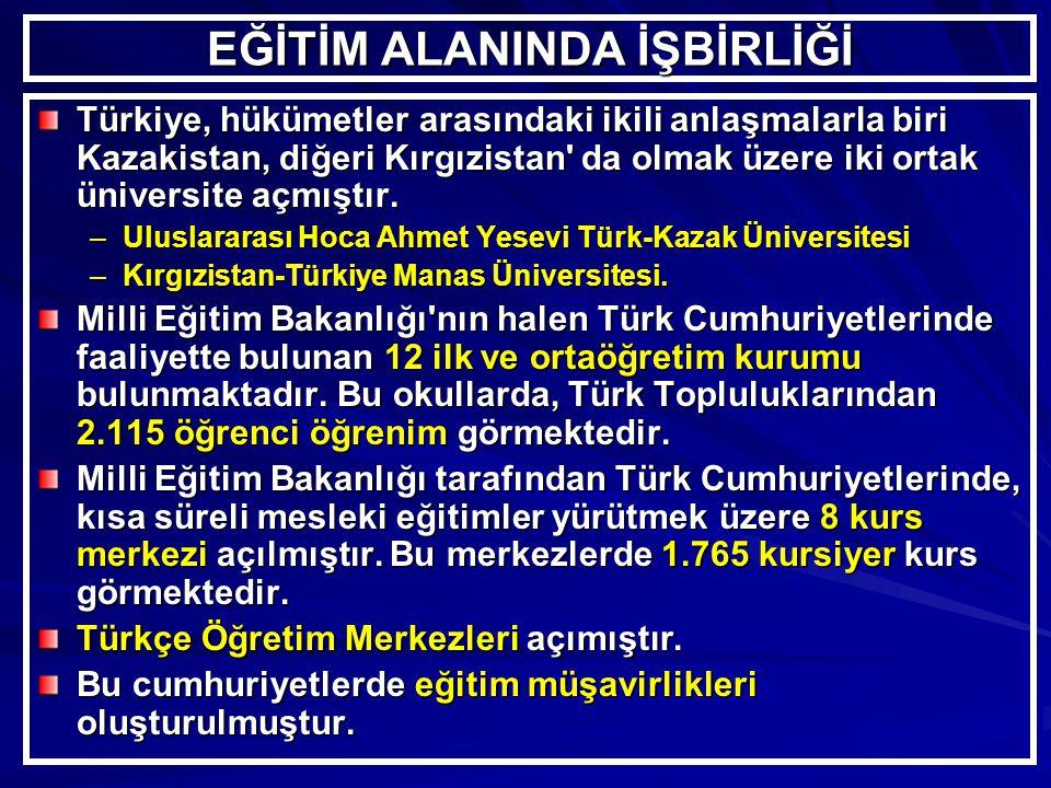 EĞİTİM ALANINDA İŞBİRLİĞİ Türkiye, hükümetler arasındaki ikili anlaşmalarla biri Kazakistan, diğeri Kırgızistan da olmak üzere iki ortak üniversite açmıştır.