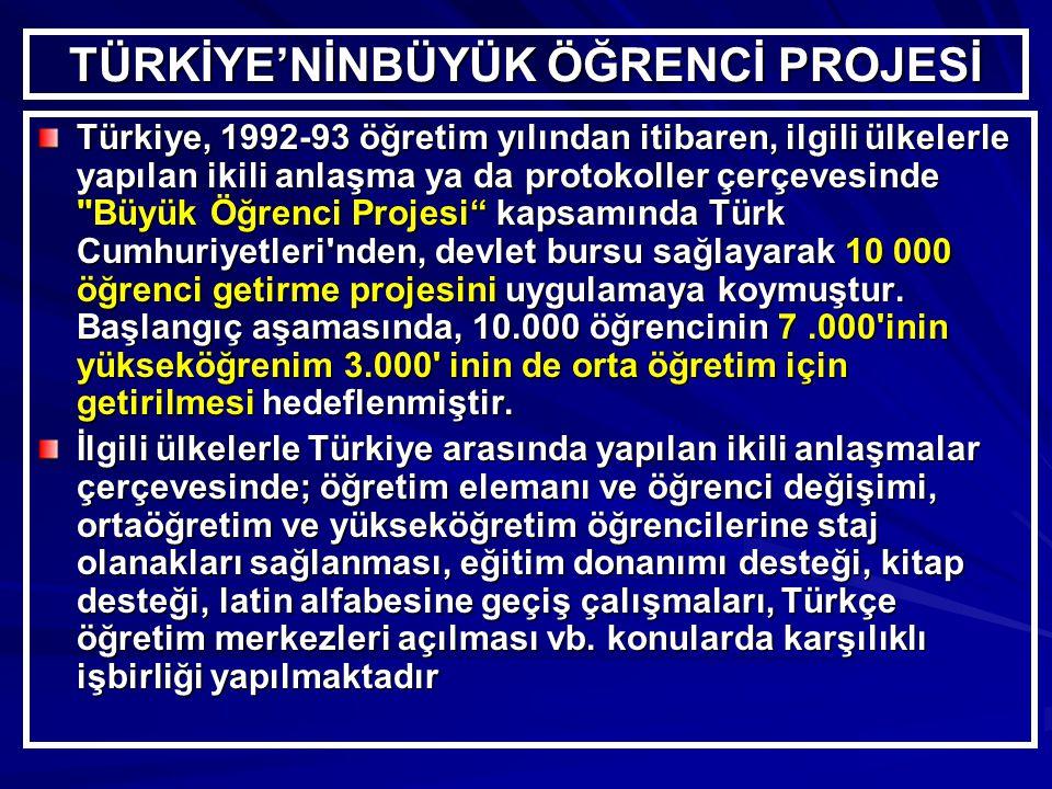 TÜRKİYE'NİNBÜYÜK ÖĞRENCİ PROJESİ Türkiye, 1992-93 öğretim yılından itibaren, ilgili ülkelerle yapılan ikili anlaşma ya da protokoller çerçevesinde Büyük Öğrenci Projesi kapsamında Türk Cumhuriyetleri nden, devlet bursu sağlayarak 10 000 öğrenci getirme projesini uygulamaya koymuştur.
