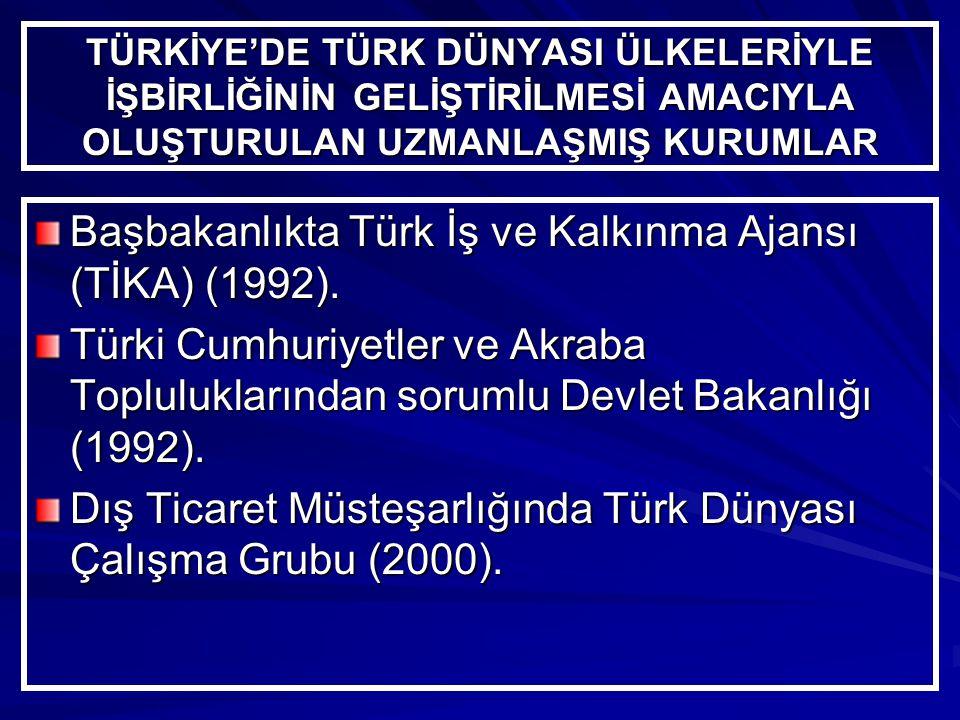 TÜRKİYE'DE TÜRK DÜNYASI ÜLKELERİYLE İŞBİRLİĞİNİN GELİŞTİRİLMESİ AMACIYLA OLUŞTURULAN UZMANLAŞMIŞ KURUMLAR Başbakanlıkta Türk İş ve Kalkınma Ajansı (TİKA) (1992).