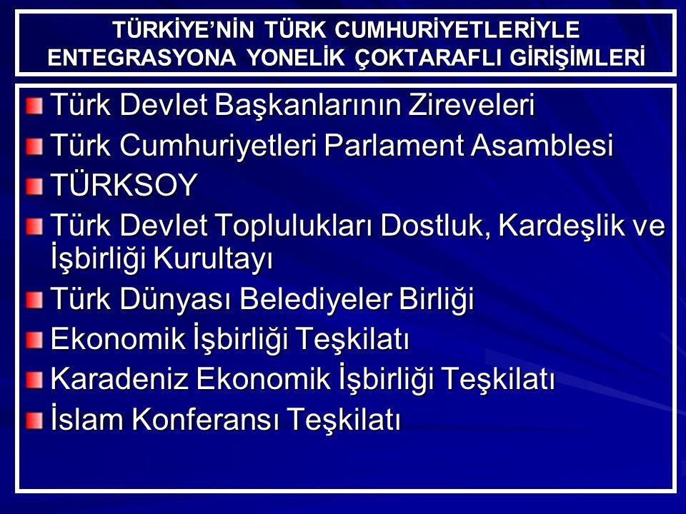 TÜRKİYE'NİN TÜRK CUMHURİYETLERİYLE ENTEGRASYONA YONELİK ÇOKTARAFLI GİRİŞİMLERİ Türk Devlet Başkanlarının Zireveleri Türk Cumhuriyetleri Parlament Asamblesi TÜRKSOY Türk Devlet Toplulukları Dostluk, Kardeşlik ve İşbirliği Kurultayı Türk Dünyası Belediyeler Birliği Ekonomik İşbirliği Teşkilatı Karadeniz Ekonomik İşbirliği Teşkilatı İslam Konferansı Teşkilatı