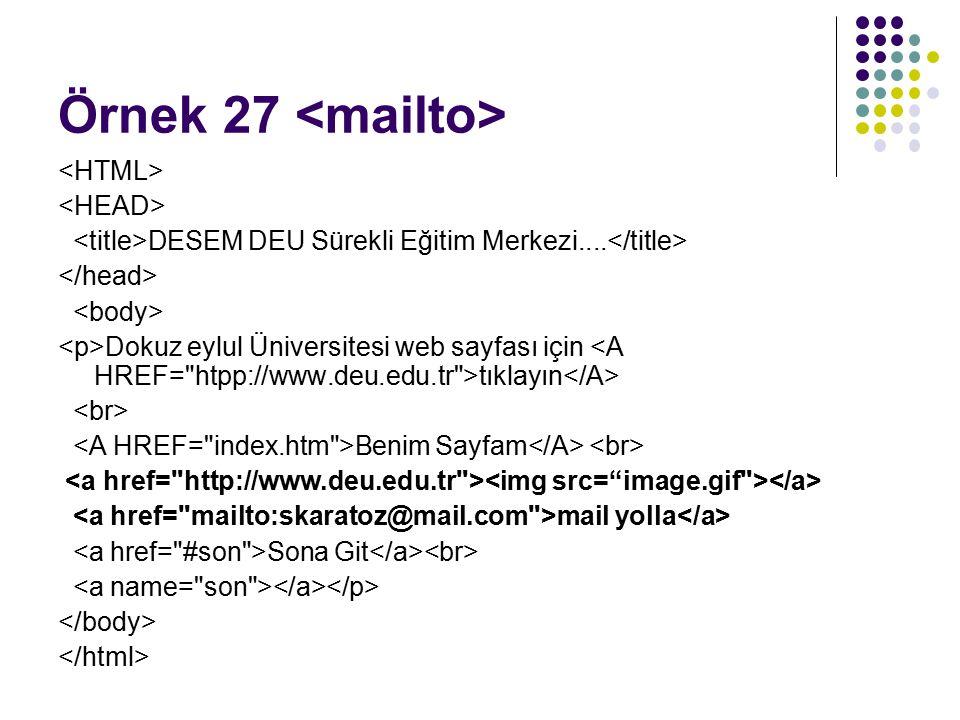 Örnek 27 DESEM DEU Sürekli Eğitim Merkezi....