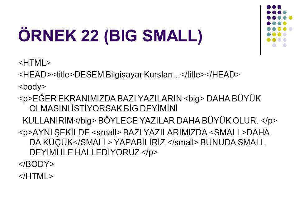 ÖRNEK 22 (BIG SMALL) DESEM Bilgisayar Kursları...