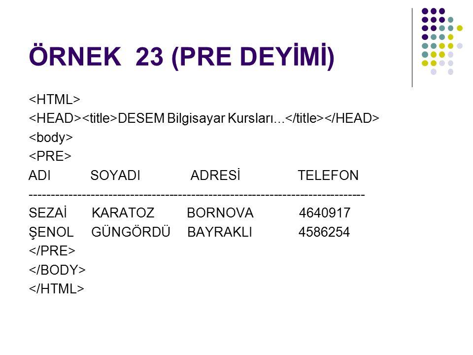 ÖRNEK 23 (PRE DEYİMİ) DESEM Bilgisayar Kursları...