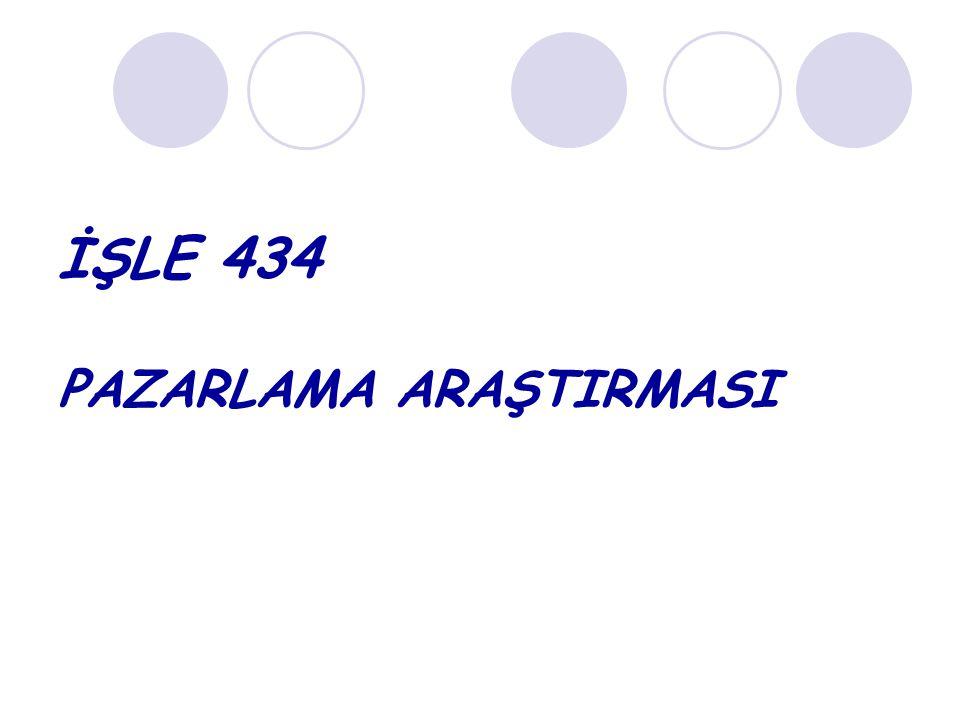 İŞLE 434 PAZARLAMA ARAŞTIRMASI