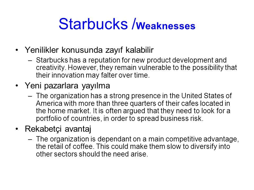 Starbucks / Weaknesses Yenilikler konusunda zayıf kalabilir –Starbucks has a reputation for new product development and creativity. However, they rema