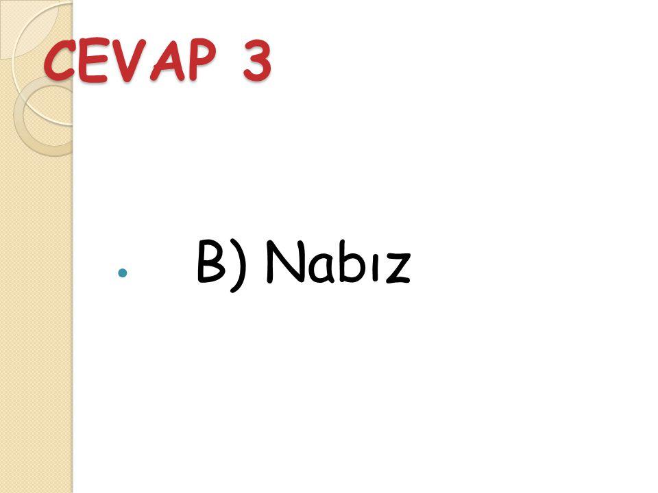 Soru 3 Kalbin pompaladığı kanın kalbe yaptığı etkiye ne ad verilir? A) Solunum B) Nabız C) Damar