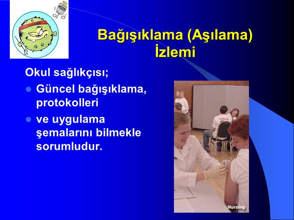 Bağışıklama (Aşılama) İzlemi Okul sağlıkçısı; Güncel bağışıklama, protokolleri ve uygulama şemalarını bilmekle sorumludur.