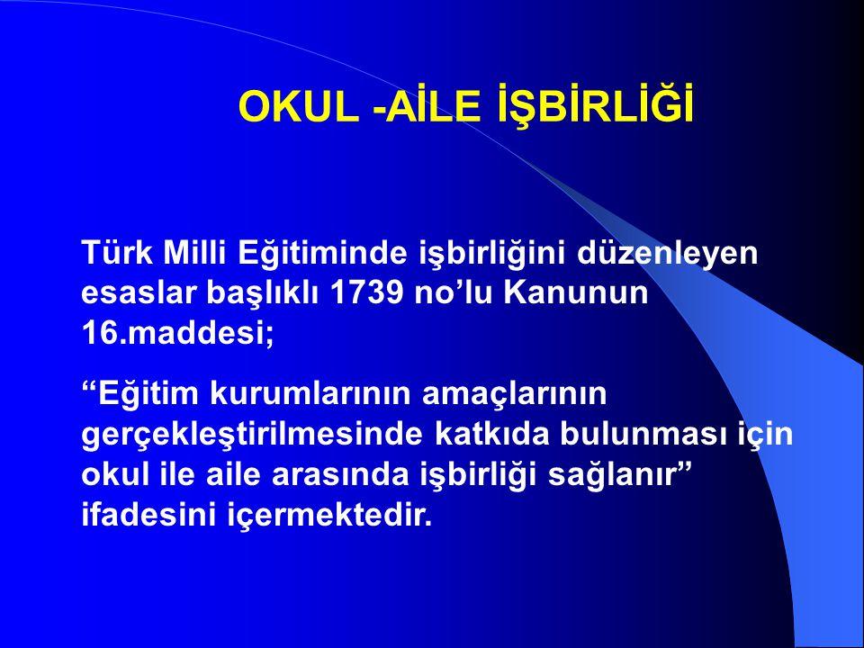 """OKUL -AİLE İŞBİRLİĞİ Türk Milli Eğitiminde işbirliğini düzenleyen esaslar başlıklı 1739 no'lu Kanunun 16.maddesi; """"Eğitim kurumlarının amaçlarının ger"""