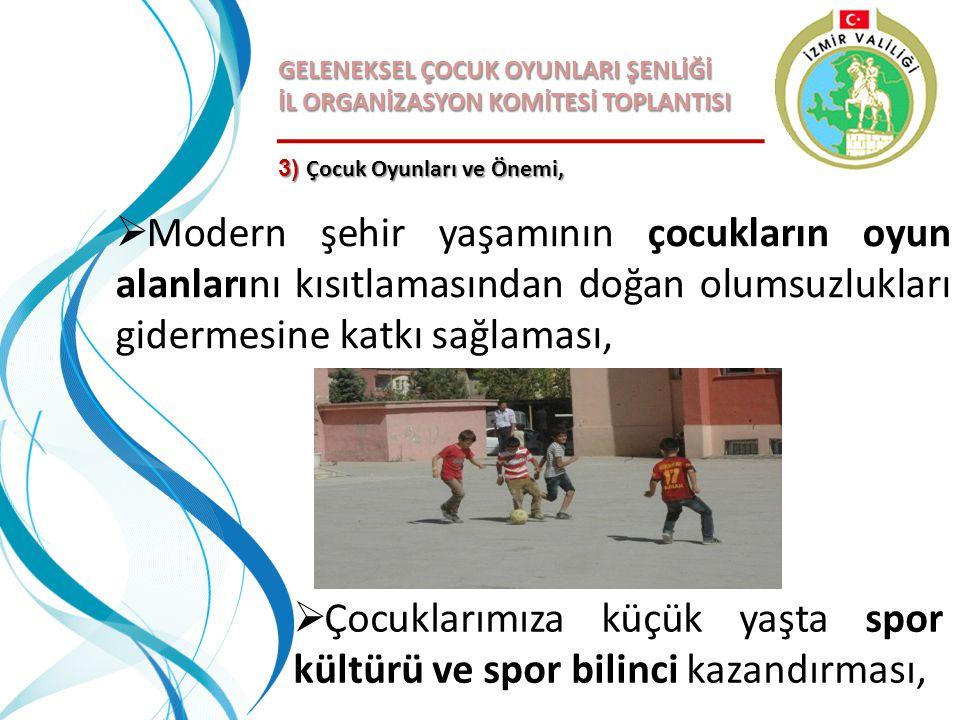 GELENEKSEL ÇOCUK OYUNLARI ŞENLİĞİ İL ORGANİZASYON KOMİTESİ TOPLANTISI 3) Çocuk Oyunları ve Önemi,  Modern şehir yaşamının çocukların oyun alanlarını