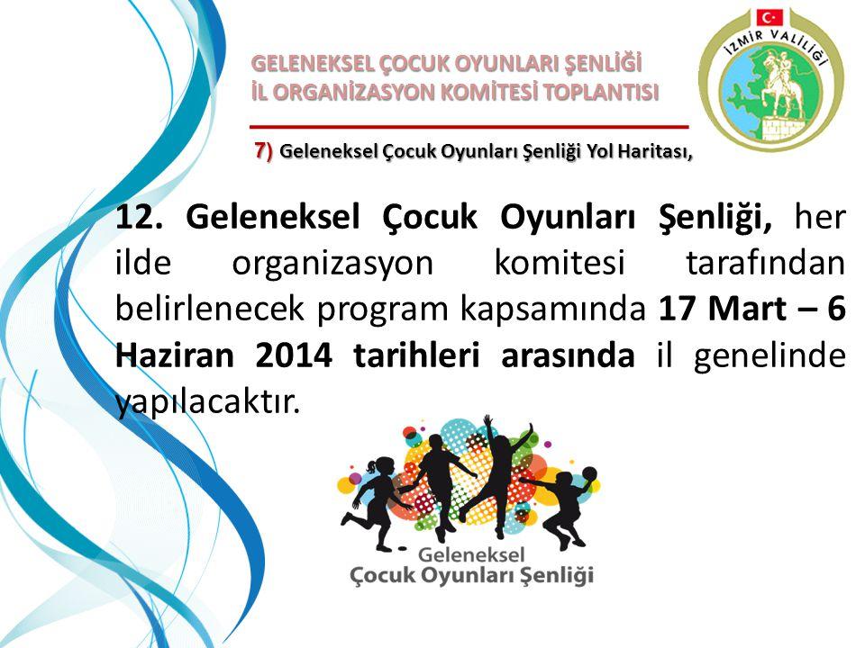 GELENEKSEL ÇOCUK OYUNLARI ŞENLİĞİ İL ORGANİZASYON KOMİTESİ TOPLANTISI 12. Geleneksel Çocuk Oyunları Şenliği, her ilde organizasyon komitesi tarafından