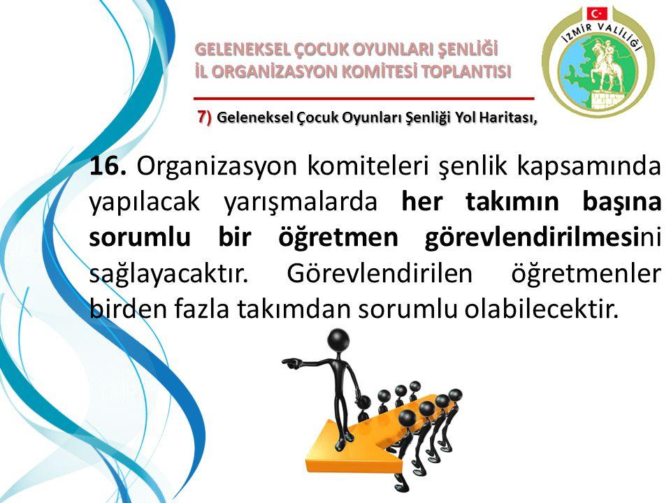 GELENEKSEL ÇOCUK OYUNLARI ŞENLİĞİ İL ORGANİZASYON KOMİTESİ TOPLANTISI 7) Geleneksel Çocuk Oyunları Şenliği Yol Haritası, 16. Organizasyon komiteleri ş