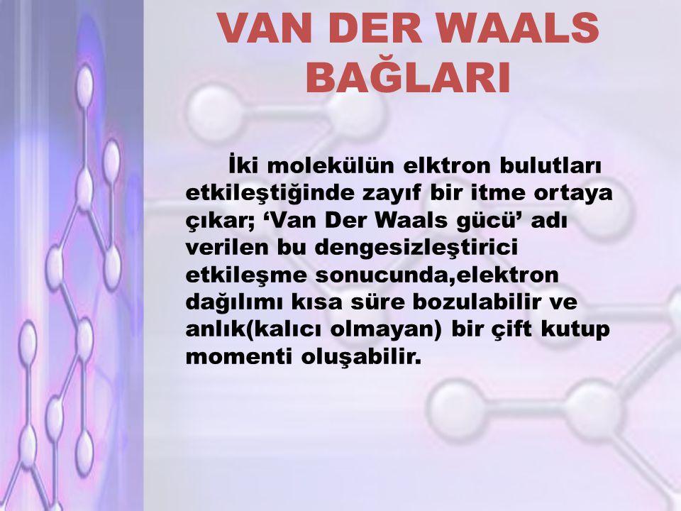 VAN DER WAALS BAĞLARI İki molekülün elktron bulutları etkileştiğinde zayıf bir itme ortaya çıkar; 'Van Der Waals gücü' adı verilen bu dengesizleştirici etkileşme sonucunda,elektron dağılımı kısa süre bozulabilir ve anlık(kalıcı olmayan) bir çift kutup momenti oluşabilir.