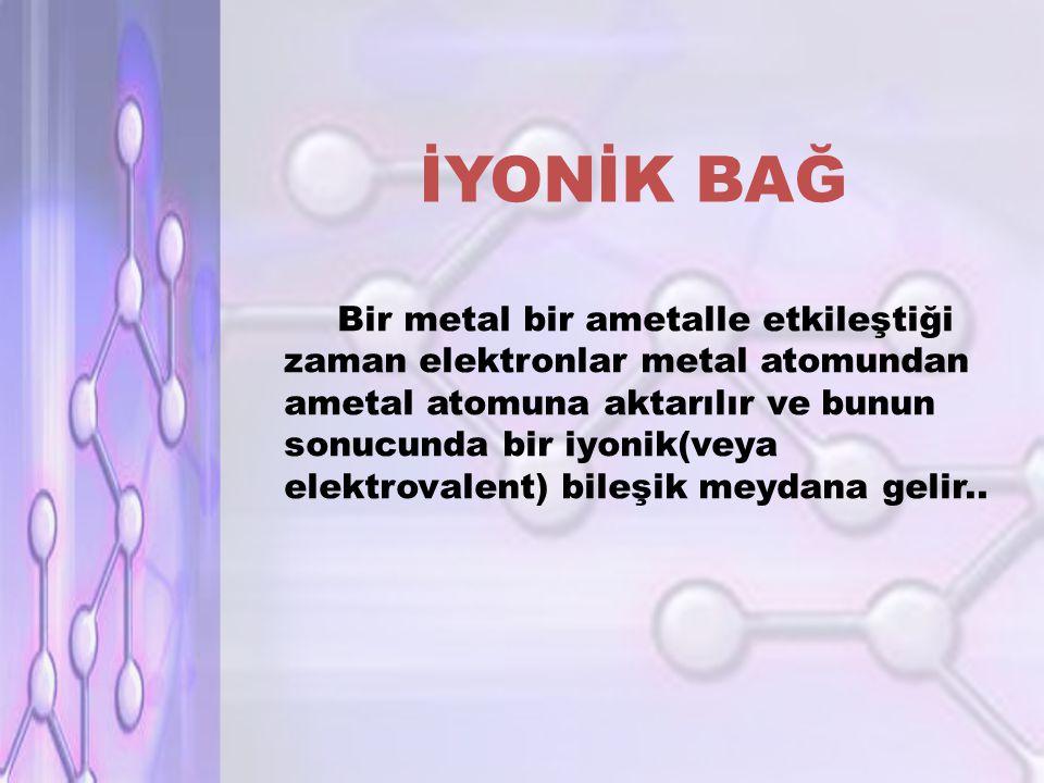 İYONİK BAĞ Bir metal bir ametalle etkileştiği zaman elektronlar metal atomundan ametal atomuna aktarılır ve bunun sonucunda bir iyonik(veya elektrovalent) bileşik meydana gelir..