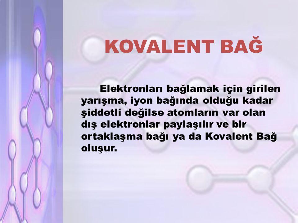 KOVALENT BAĞ Elektronları bağlamak için girilen yarışma, iyon bağında olduğu kadar şiddetli değilse atomların var olan dış elektronlar paylaşılır ve bir ortaklaşma bağı ya da Kovalent Bağ oluşur.