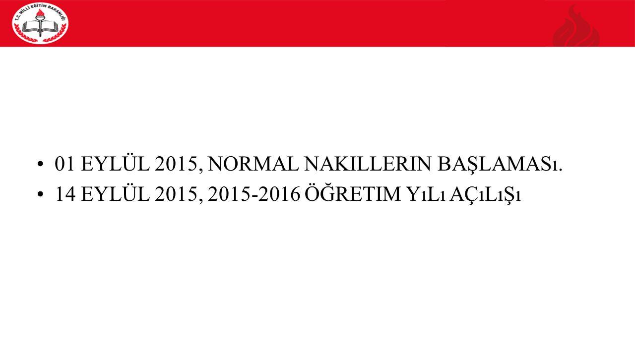 01 EYLÜL 2015, NORMAL NAKILLERIN BAŞLAMASı. 14 EYLÜL 2015, 2015-2016 ÖĞRETIM YıLı AÇıLıŞı