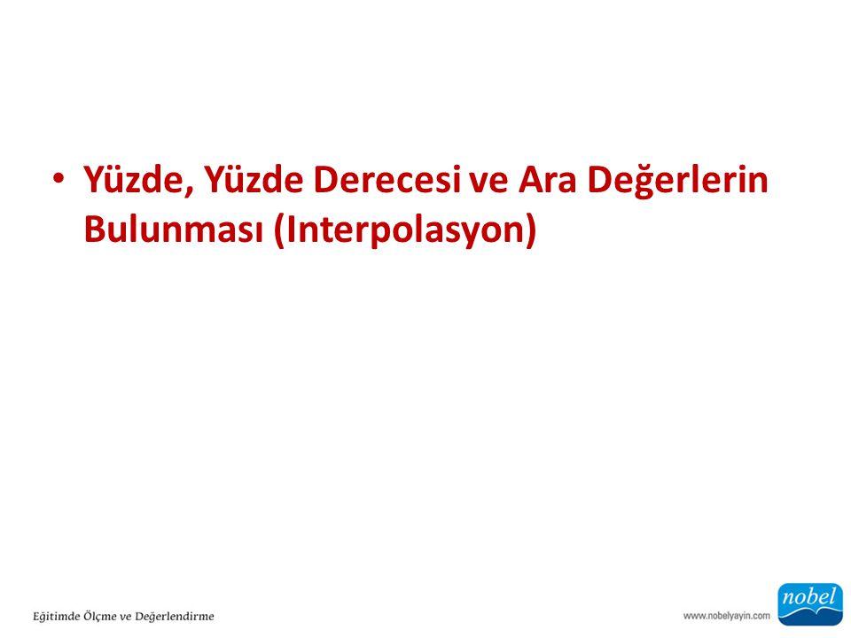 Yüzde, Yüzde Derecesi ve Ara Değerlerin Bulunması (Interpolasyon)