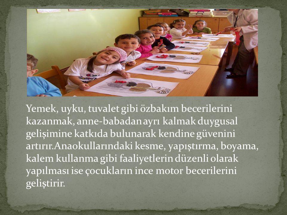Çocuklar okul öncesi eğitim ile sosyal, duygusal fiziksel ve zihinsel birçok beceri kazanır ve geliştirirler.Sosyal olarak paylaşmayı, sıra beklemeyi,