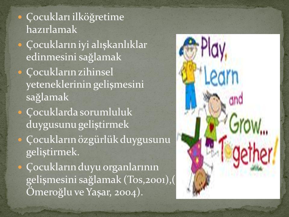 Çocukları ilköğretime hazırlamak Çocukların iyi alışkanlıklar edinmesini sağlamak Çocukların zihinsel yeteneklerinin gelişmesini sağlamak Çocuklarda sorumluluk duygusunu geliştirmek Çocukların özgürlük duygusunu geliştirmek.