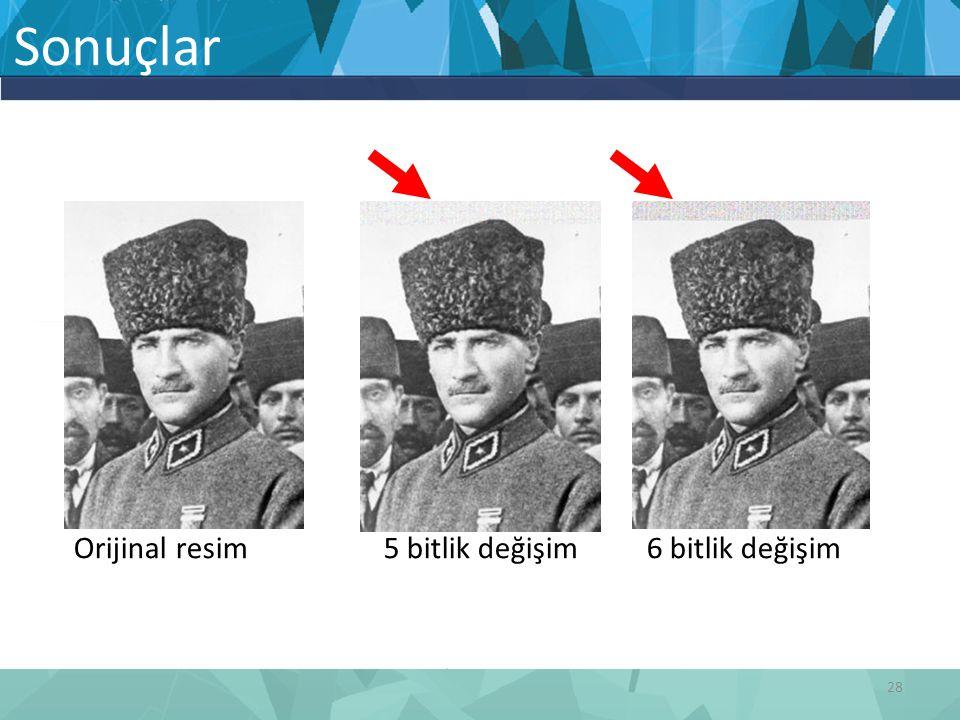 Orijinal resim 5 bitlik değişim 6 bitlik değişim Sonuçlar 28