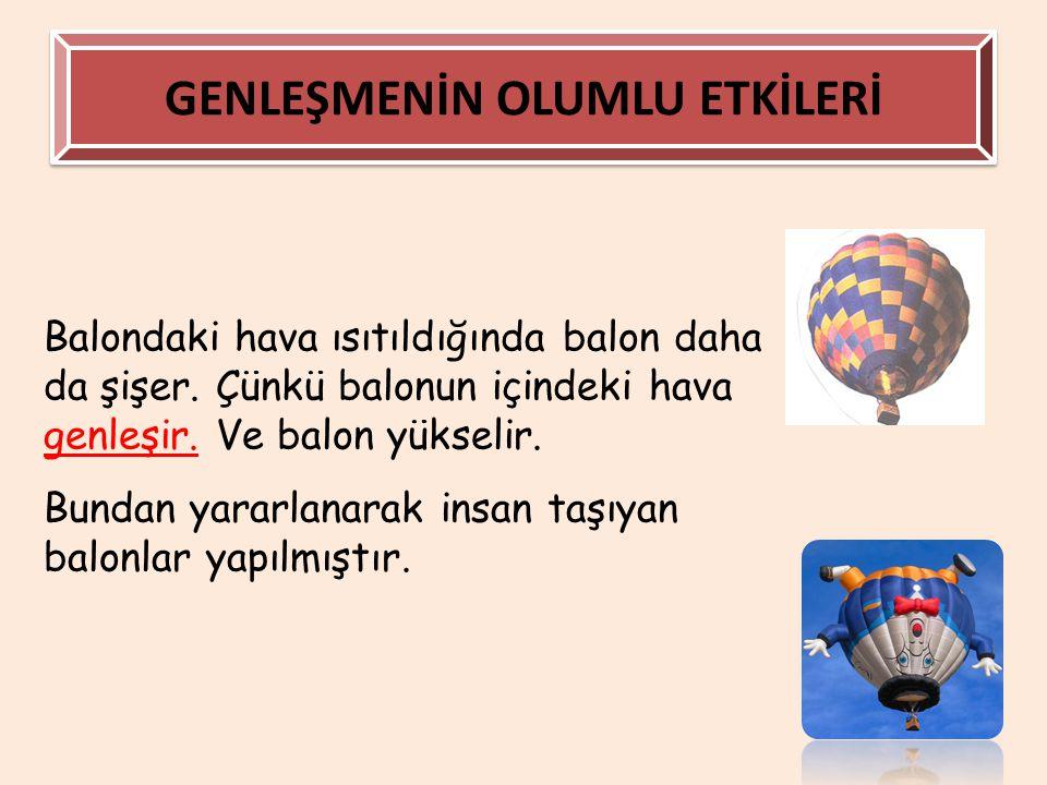 GENLEŞMENİN OLUMLU ETKİLERİ Balondaki hava ısıtıldığında balon daha da şişer. Çünkü balonun içindeki hava genleşir. Ve balon yükselir. Bundan yararlan