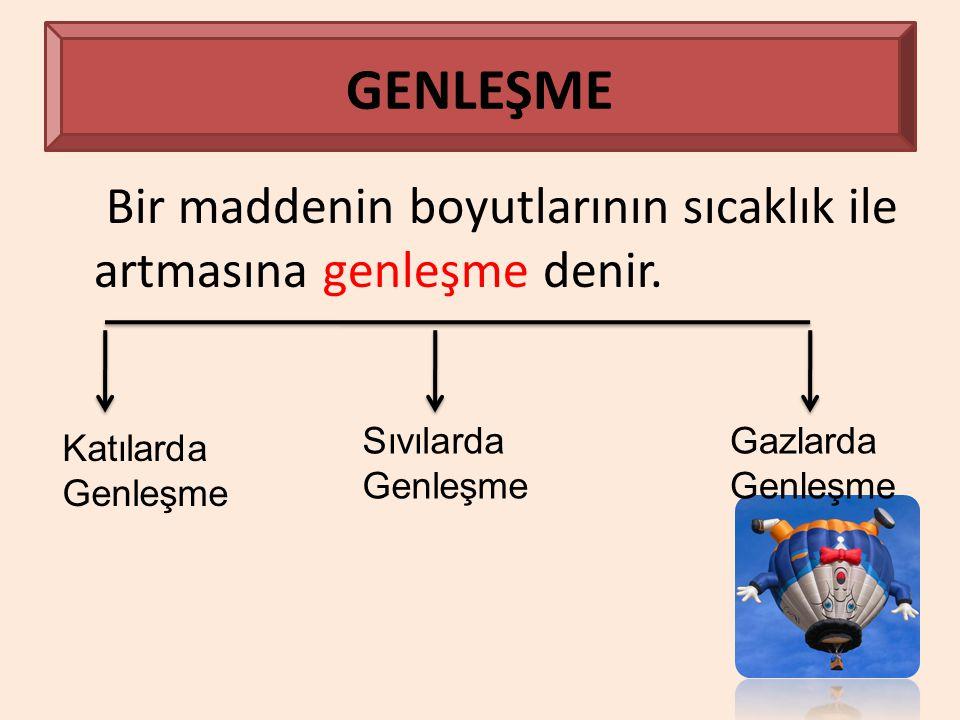 GENLEŞME Bir maddenin boyutlarının sıcaklık ile artmasına genleşme denir. Katılarda Genleşme Sıvılarda Genleşme Gazlarda Genleşme