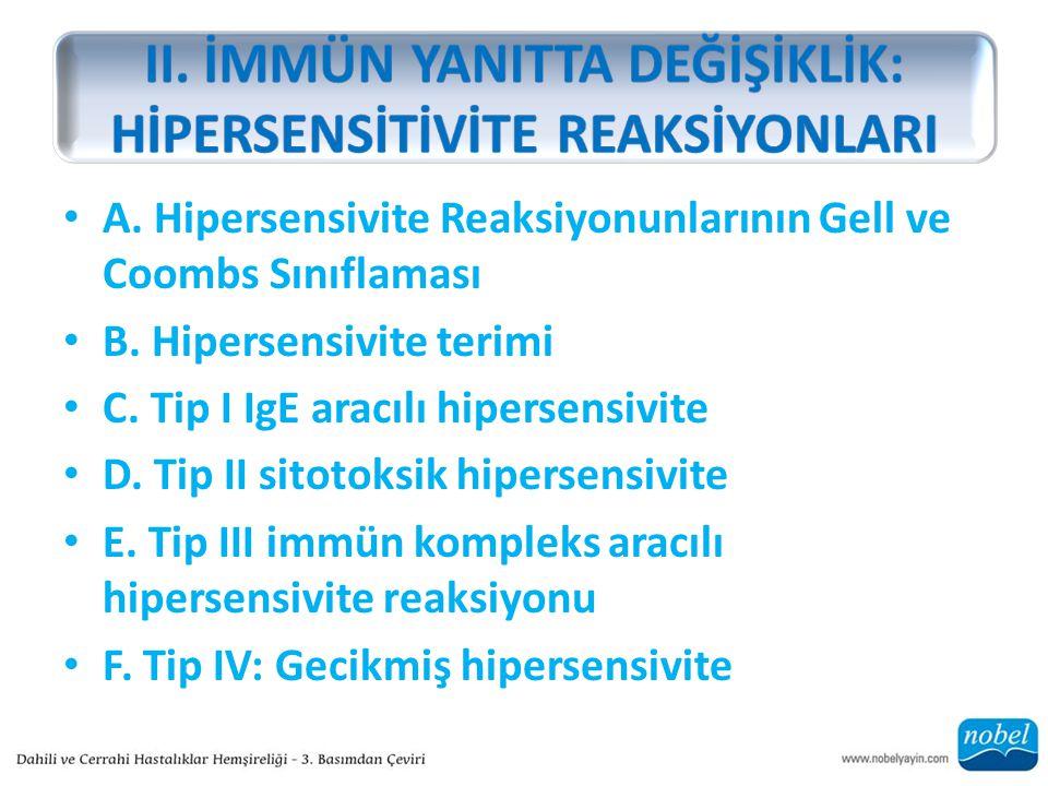 A. Hipersensivite Reaksiyonunlarının Gell ve Coombs Sınıflaması B. Hipersensivite terimi C. Tip I IgE aracılı hipersensivite D. Tip II sitotoksik hipe